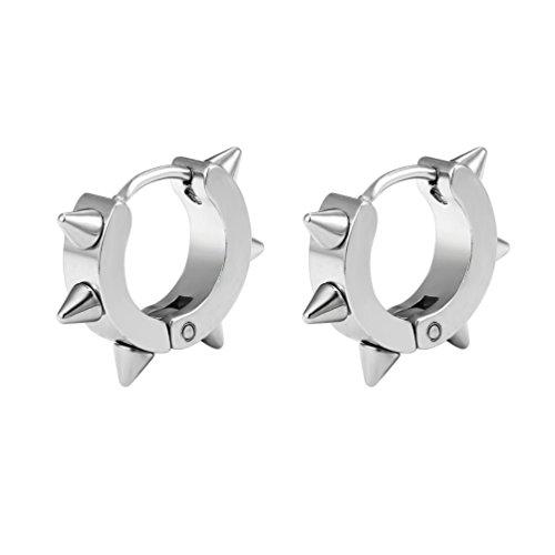 Prosteel uomo donna orecchini cerchi con rivetti, rivetto riccio, orecchini piccolo cerchio, acciaio inossidabile/placcato oro 18k, argento(confezione regalo)