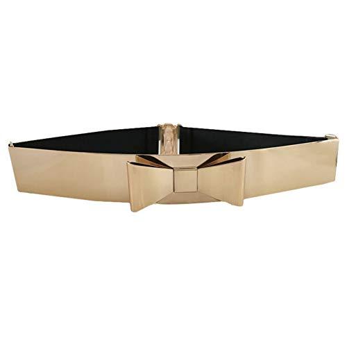 ADGJLI Bow Gold Plate Metal Elastic Belts for Women Ladies Belts Female Nude Belts Waist Chain Metal Buckle Belt for Dresses Bow Skinny Belt