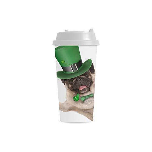 Green Hat Dog Puppy Benutzerdefinierte 16 Unzen Doppelwandige Kunststoff Isoliert Sport Wasserflasche Tassen Pendler Reise Kaffeetassen Für Studenten Frauen Milch Teetasse Trinken (Kostüm Glas Milch)