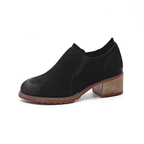 Hsxz Femmes Chaussures De Vache Automne Hiver Confort Bottes Chunky Round Toe Bead Pour Casual Noir Camel Noir