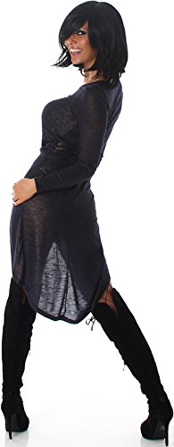 Voyelles Damen Vokuhila-Kleid Shirt Longpulli Sweatshirt bauchfrei Gold-Glanz & Raffung Glossy Shiny Party Club Dance (34 - 40) Marine - Gold