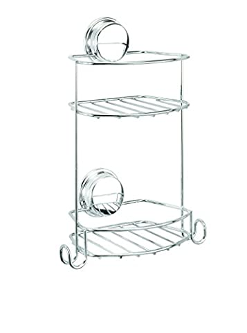 Croydex Chrome Plated Mild Steel Rust Free Stick 'N' Lock Plus Adhesive or Screw Fix Compact Two Tier Storage Basket,