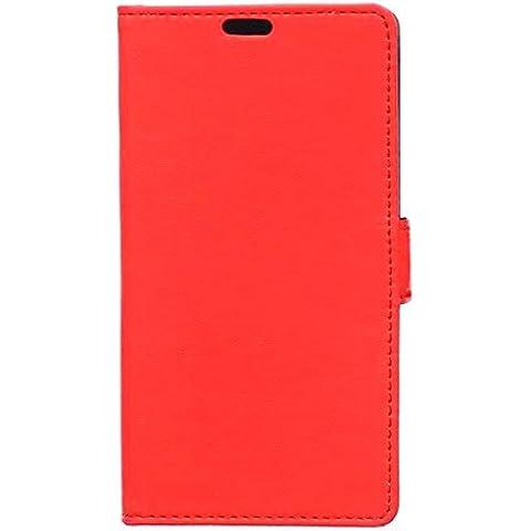 Locaa(TM) Para BQ Aquaris M4.5 Case 3 IN 1 Accesorios Protector Phone Cover Shell Caso Cas Funda Alta Calidad Piel Para Carcasa Bumper Protección Gift [Ordinario 1] - Rojo