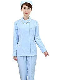 OPPP Ropa médica Cuello Alto Manga Azul Cielo Uniforme de Enfermera Uniforme de Trabajo de Enfermera