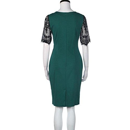 Rcool Frauen Vintage-Spitze Bodycon Pencil Abendkleid Party Grün