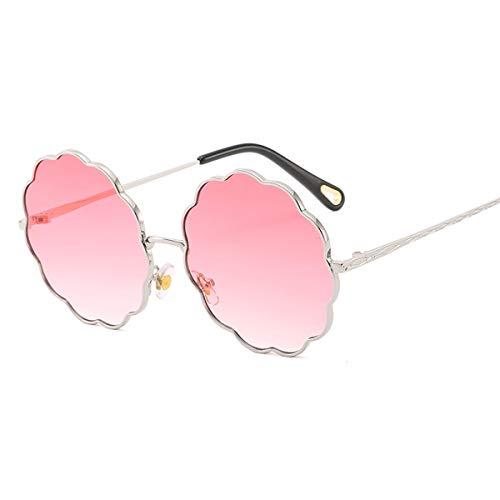 Z&HA Rund-Sonnenbrillen für Damen Brillen Metallrahmen und Gradientenlinsen UV400 Schutzbrillen für das Reisen,Sivler/GraduatedPink