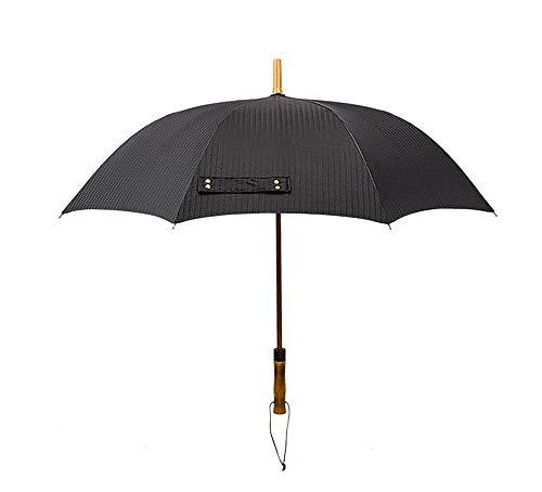 DX Halbautomatischer Regenschirm mit langem Griff Übergroßer Golfschirm wasserdicht für Geschäfts- und Außenbereiche, Männer und Frauen Klassischer schwarzer Massivholzgriff -