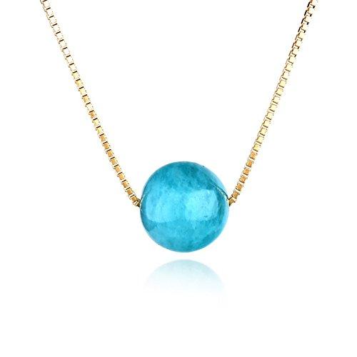 Dalwa Kette Damen 14 Karat 585 Gold Vergoldete Halskette aus 925 Silber mit Anhänger Naturstein Amazonit, Ideales Geschenk für Mutter Frauen und Freundin, inkl. Geschenkverpackung