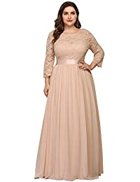 ea41a5c62fb Ever-Pretty Robes de Soirée Femme Grande Taille Longue Manches 3 4 en  Dentelle