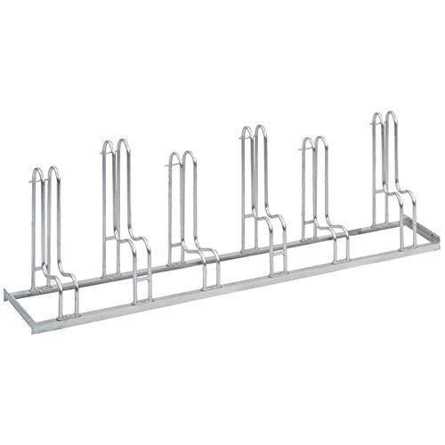 WSM Fahrradständer Bügelparker Reifenbr. bis 5,5 cm, Radabstand 35 cm, 6 Einstellplätze, verz. Stahl -