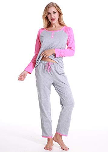 Pyjama für Damen, Damen Nachtwäsche, Damen Zweiteiliger Pyjama, V-Ausschnitt Damen Pyjamas Sets aus lässigem Shirt und gemütlicher Hose(Grau,XL)