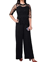b5d72f43d48f Decha Femme Été Jumpsuit en Dentelle Bodysuit Combishort Combinaison Manches  Longues Col Rond Romper Casual Babydoll Pantalon de Soirée…