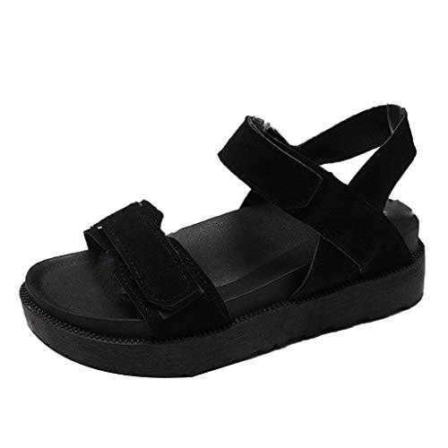 ZahuihuiM Été Wedges Sandales pour Femmes 2019 Nouvelles Chaussures Romaines Opentoe Chaussures De Plage Plates Ceinture Boucle Dames Sandales