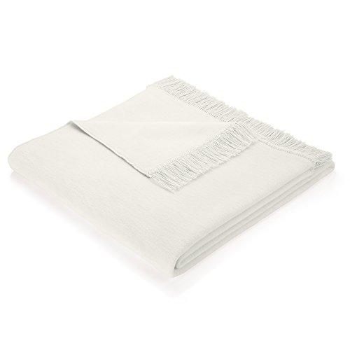 Biederlack Wohndecke/Sofa-Überwurf, 60% Baumwolle, Mit Fransen, 100 x 200 cm, Natur, Cotton Cover...