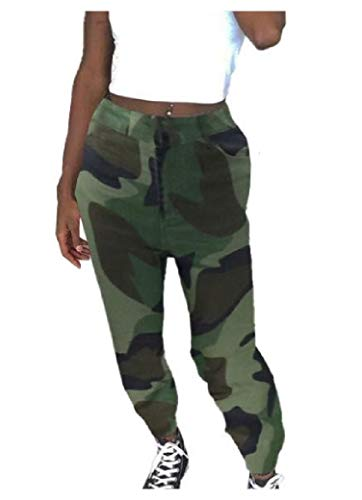 CuteRose Womens Outdoor Casual Camouflage Relaxed-Fit Low-Waist Long Trousers AS2 M