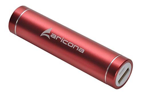 aricona MINI PowerBank - 3000 mAh in rot externer & mobiler Akku aus Metall, extra leicht tragbares & kompaktes Slim Design, ideal zum Laden von Handys und Smartphones unterwegs – Der kleine Akkupack