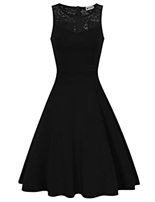 HiQueen Women's Lace Fit Flare Cocktail Wedding Party Dress
