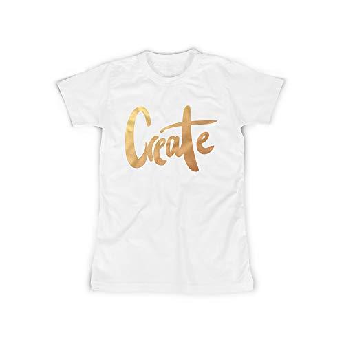 licaso Frauen T-Shirt mit Create Gold Aufdruck in White Gr. XXXL Bling Diamant Design Top Shirt Frauen Basic 100% Baumwolle Kurzarm -