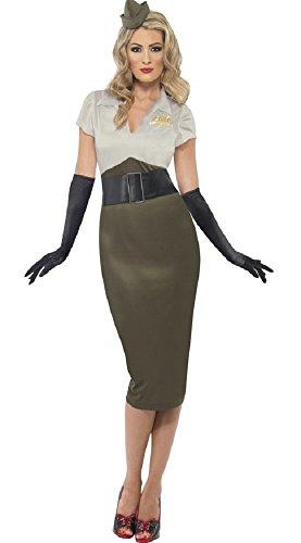 Fancy Me Damen WW2 Armee Militär PIN UP 1940s Jahre Glamourös Sexy Kostüm Übergröße - Grün, 12-14