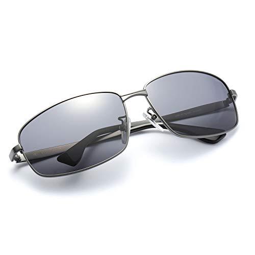 Polarisierte klassische Sport Sonnenbrille leichte TAC Objektiv Legierung Rahmen Bruchsicher Gläser 100% UVA UVB Schutfür Männer (grau, grau)