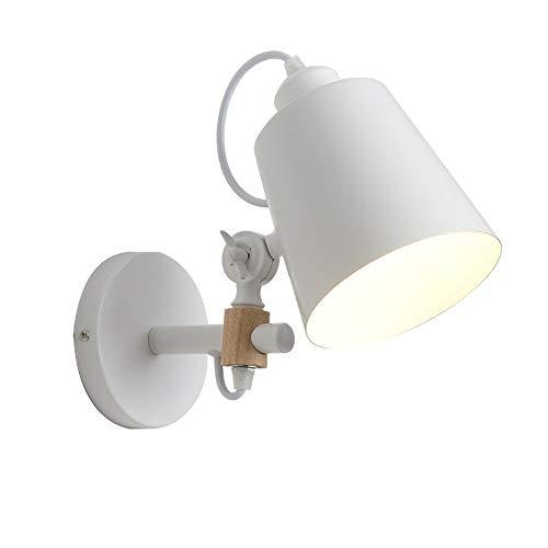 MAONB E27 180 Grad Verstellbare Wandleuchte Licht Eisen Wandleuchte Moderne Nacht Metall Leuchten Edison Wandleuchte For Wohnzimmer Korridor Arbeitsschlafzimmer Hotel (Color : White) -