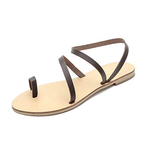 Schmick Hekate Damen Sandalen: Sommer Riemchensandalen flach, Gr. 39, braun Natural (Frauen Kleid Schuhe Größe 11)