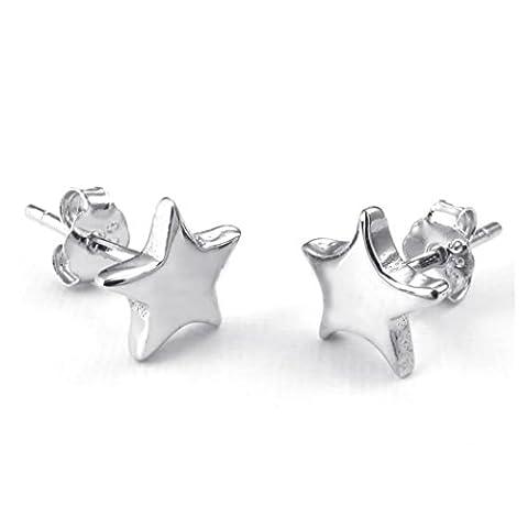 KONOV Bijoux Boucles d'oreilles Femme - 925 Argent Sterling Silver - Étoile Star Pentagram Clous d'oreille - pour Femme - Couleur Argent - Avec Sac Cadeau