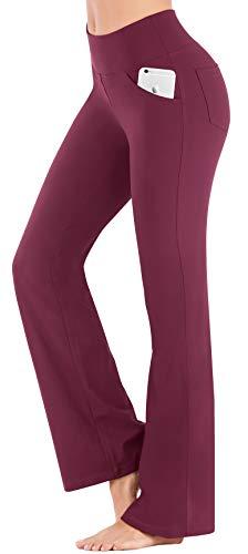 IUGA Bootcut-Yoga-Hose mit Taschen für Damen, hohe Taille, Trainings-Bootcut-Hose mit Bauchkontrolle und 4 Taschen…
