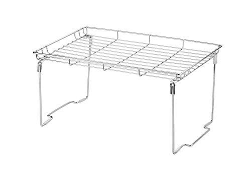 Stapelbar und Faltbar Zusatzregal Tablett für Teller Eck-Schrankeinsatz, Arbeitsplatte und Küchen-schränke 38L × 23B × 19Hcm (Groß, Silber)