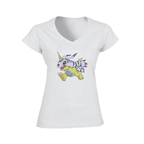 Digimon Garurumon Wolf Gabumon Run Hands Back Damen V-Neck T-Shirt Weiß