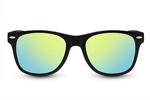 Cheapass Sonnenbrille Schwarz Verspiegelt Recht-Eckig UV-400 Nerd-Brille Festival Plastik Damen Herren
