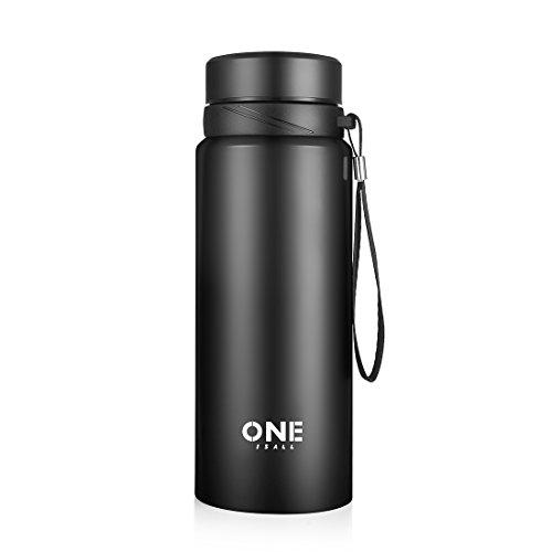 Oneisall bouteille d'eau bouteille d'eau 750 ml en acier inoxydable double flacon bouteille et tasse de voyage pour les sports de plein air Camping - 24 heures froid et 12 noir chaud