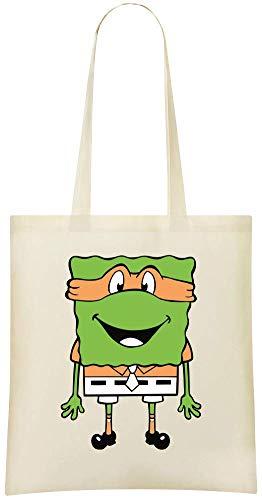 Fredo Clothing Grünes Ninja Spongebob TMNT - Green Ninja Spongebob TMNT Custom Printed Shopping Grocery Tote Bag 100% Soft Cotton Eco-Friendly & Stylish Handbag For Everyday Use Custom Shoulder Bags