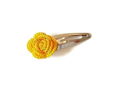 Pince à cheveux jaune rose fait main crochet cheveux accessoires cadeau pour sa nature fleur