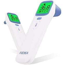 Thermomètre Bébé, FOCHEA 4 en 1 Thermometre Infrarouge Frontal et Auriculaire pour Bébé, Enfants et Adultes avec Mémoire de 40 Données et Avertisseur de Fièvre, Certifications CE/RoHs/FDA