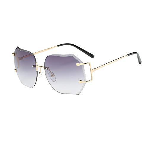 Gafas de sol de Marco de Irregularidad de Metal para Mujeres Hombres, Retro Gafas Degradado de Color de marca clásica de viaje Unisex URIBAKY