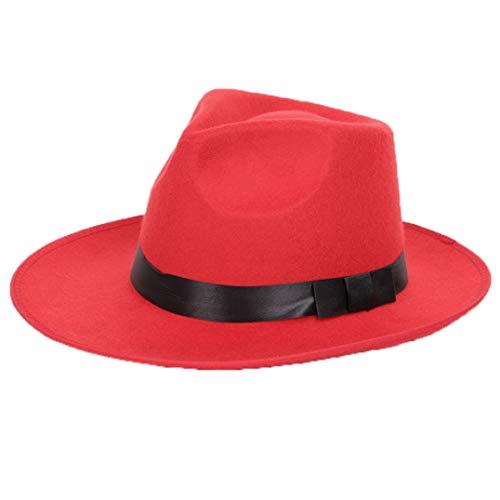 GOUNURE Klassische Vintage Wollfilz breiter Krempe Fedora Hüte Trilby Hut Jazz Cap Sonnenhut mit schwarzen Schleife Band für Frauen -