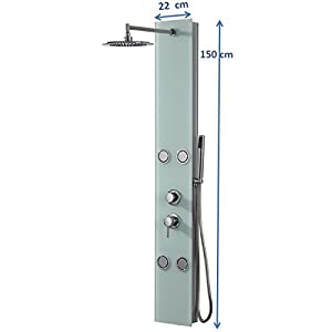 DP Grifería – Columna de ducha hidromasaje en cristal, color blanco, modelo Toscana