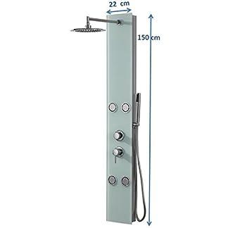 31h79S8FPDL. SS324  - DP Grifería - Columna de ducha hidromasaje en cristal, color blanco, modelo Toscana
