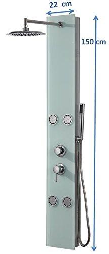 DP Grifería - Columna de ducha hidromasaje en cristal, color blanco, modelo Toscana