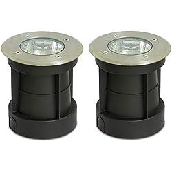 Trango 2er pack IP65 acier inoxydable Rond Spot encastré au sol extérieur, lumière au sol, Lampadaire éclairage de chemin TG3083R / 2 jusqu'à 800 kg rechargeable, ampoules LED GU10 appropriée