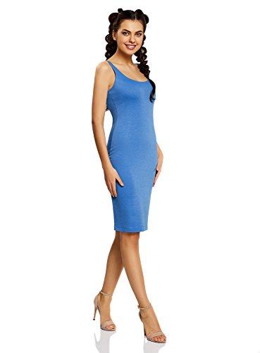 oodji Ultra Donna Abito in Maglia con Spalline Sottili Blu (7500N)