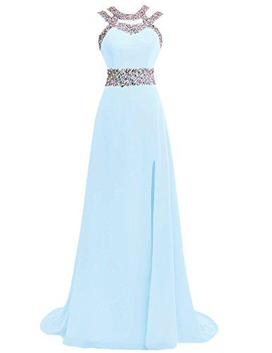Damen Ballkleider Lang Abendkleider Festkleider Hochzeitskleid Chiffon A Linie Eisblau EUR58