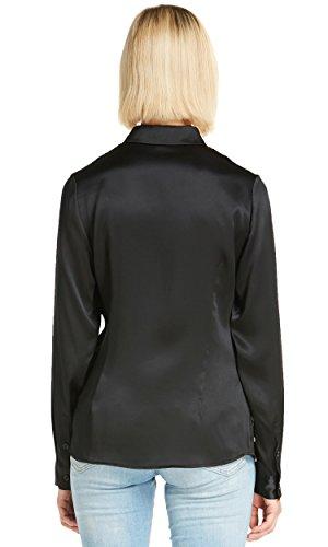 LILYSILK Chemise Basique en Soie Femme Chemisier Uni Mode d'emploi Col Boutonné Top à Manches Longues 22MM L Noir