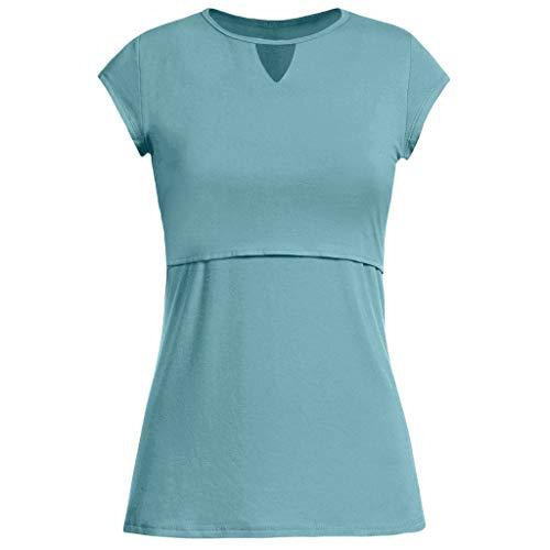 Double Wrap Bluse (Dtuta Mutterschaft Krankenpflege Wrap Top Cap Kurzarm Double Layer Bluse T-Shirt,Kleidung Mutterschafts Kurzarm Shirt, Umstandstop Umstandsmode Umstandsshirt Schwangerschaft Umstandsmode Damen Tshirt)