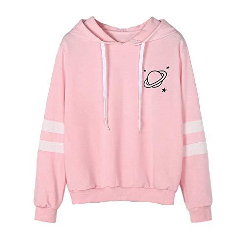juqilu Elegantes Herbst-Winter-Sport-Frauen-Mädchen-Sweatshirt mit Langen Ärmeln und Planeten drucken Lange Hülsen Jumper Hooded Pullover Tops Bluse Rosa L