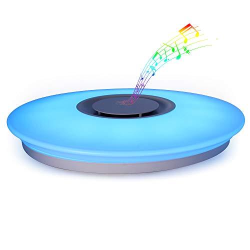 HOREVO Plafonnier LED avec Haut-parleur Bluetooth pour Musiqu, Télécommande APP, Dimmable, 24W Ø40cm 3000K-6500K RGBW Changement de Couleur Chaud/Blanc, Pendentif Lustre Smart Home Lamp Party Lam