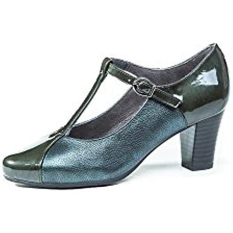 Zapatos cómodos mujer vestir con tacón PITILLOS - Piel colores disponibles negro o burdeos combinado con Charol - Tipo Mercedes con Hebilla - 1963 - 575 y