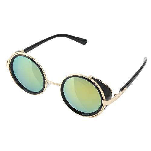vige Radfahren Sonnenbrille Runde Brille Cyber   Fahrrad Brille Vintage Retro Stil Blinder ABS Kunststoff und Metall-Legierung Rahmen