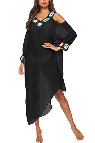 Mujeres Bikini Túnicas Verano Pura Playa Boho Vestidos Negro One Size